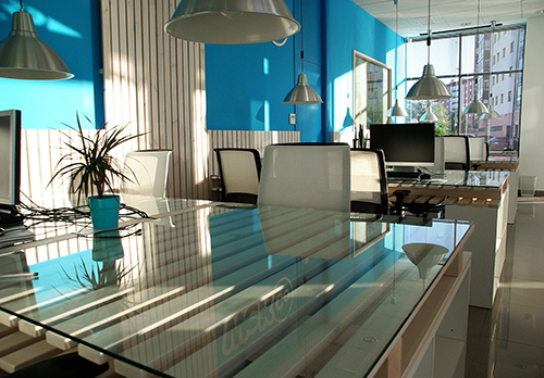 bright blue colourful open plan office