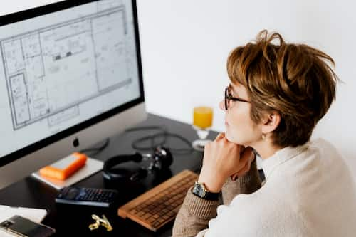 Woman working in a modern office