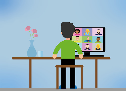 Man attending a virtual meeting with colleagues
