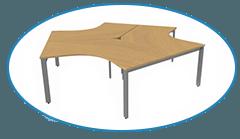 Modular 3-person desk in beech