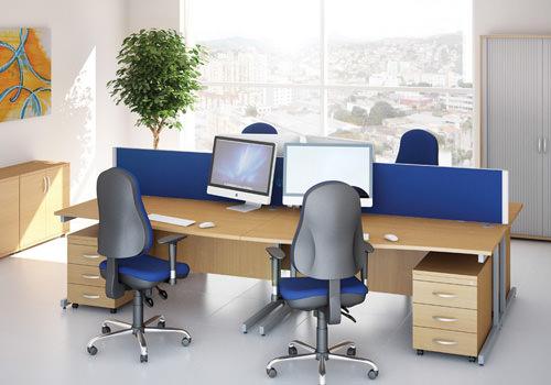 Wave Desks with Blue Desk Screens
