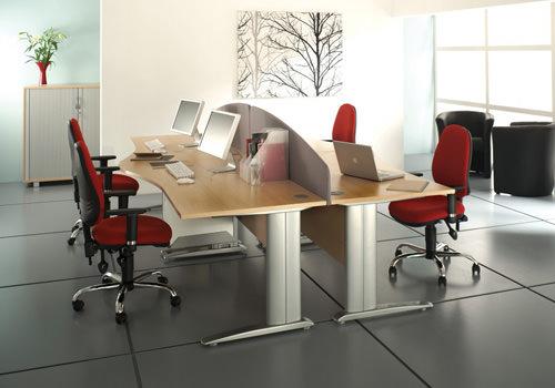 Beech Wave Desk Modules with Desk Screens