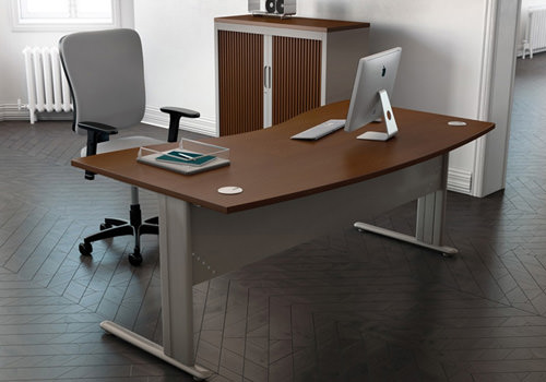 Wave Desk in Walnut with Modesty Panel