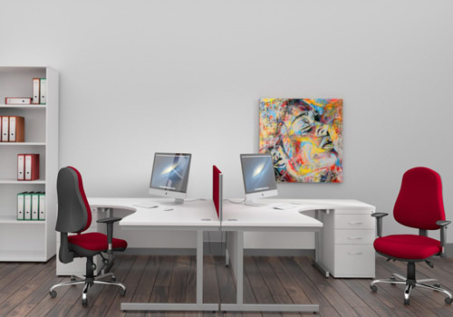 Radial White Desk with Red Chair