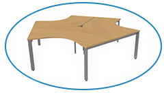 3-person bench Desk in Beech
