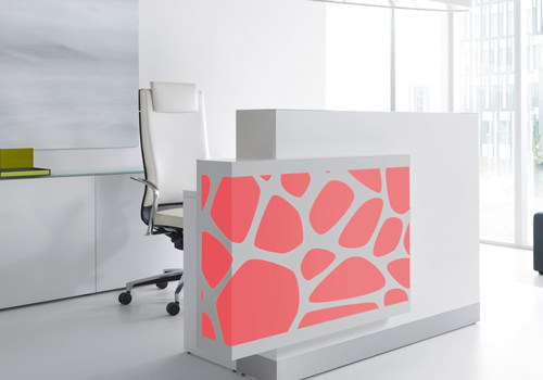 White Reception Desk with Red Led Lights