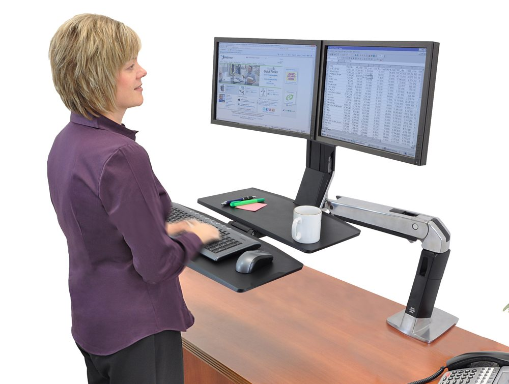 Ergotron Workfit A With Worksurface And Dual Monitor