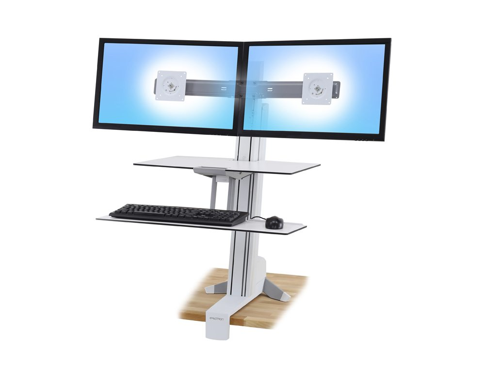 Ergotron WorkFit S with Worksurface and Dual Monitor Mounts - White