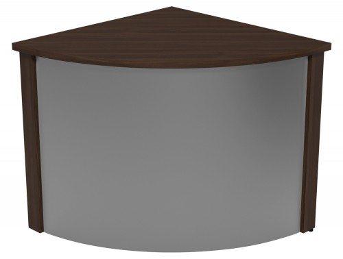 Ashford Modular Reception Corner Metal Desk DW-SLV in Dark Walnut