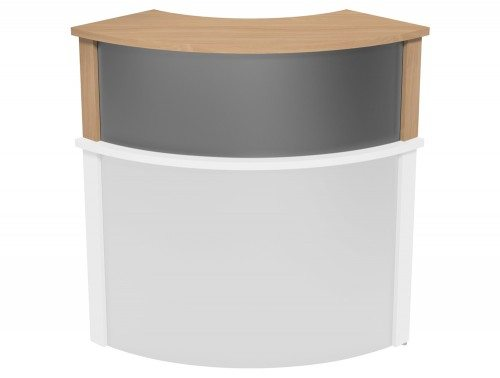 Ashford Modular Reception Corner Metal Riser BE-SLV in Beech