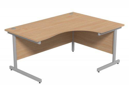 Ashford Budget Metal Leg Crescent Desk SLV-BE-R-1612 in Beech