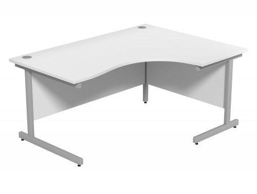 Ashford Budget Metal Leg Crescent Desk SLV-WH-R-1612 in White