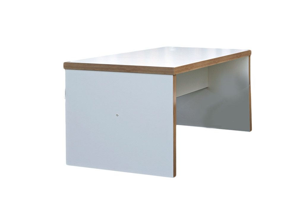 Block White Canteen Table - 2200mm