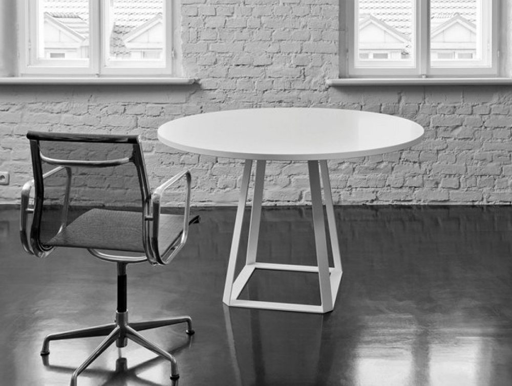 Balma H2 Round Top Office Meeting Table with Metal Base in White