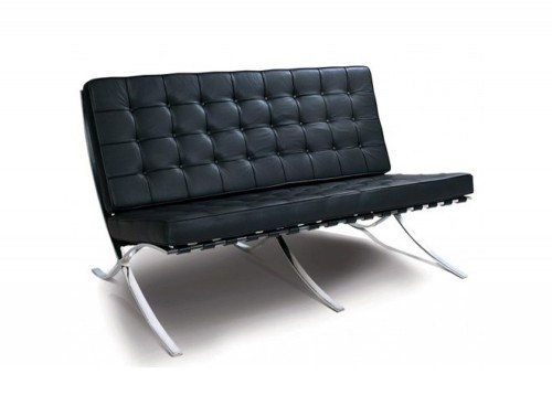 Barcelona Style Double Seat Sofa in Black Leather