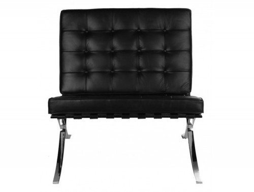 Barcelona Style Single Seat Sofa in Black Leather