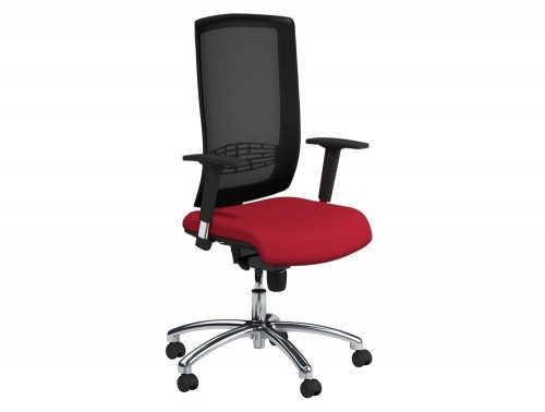 Begin Mesh High Backrest Black Swivel Chair with Chrome Base in E090 Red and Black Mesh