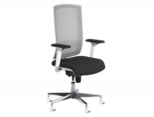 Begin Mesh High Backrest White Swivel Chair with Chrome Base in E001 Black and Grey Mesh