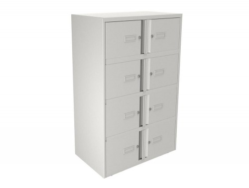 Bisley Essentials Eight Door Lodge in White with Locks