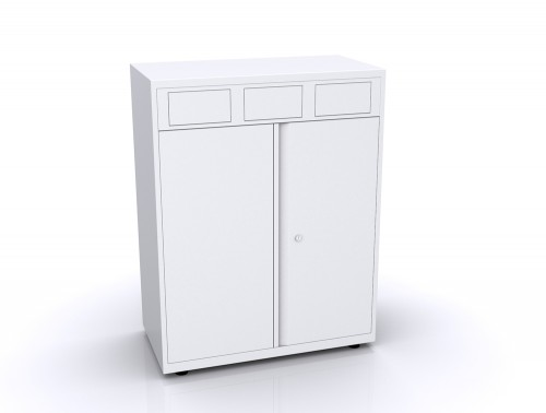 Bisley Lateralfile Front-Access Recycling White Unit with Locking Doors