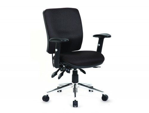 Chiro Task Operators Chair Black With Arms Medium Back Image 1