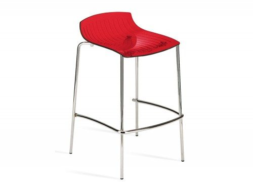 City 4 Legged Translucent Stool in Red