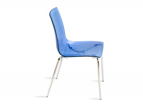 City Stackable Translucent Chair in Blue Side Angle