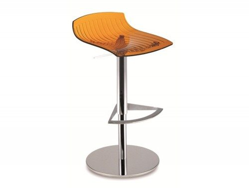 City Translucent Height Adjustable Stool in Orange