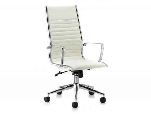 Dynamic ritz executive high back chair in ivory soft leather