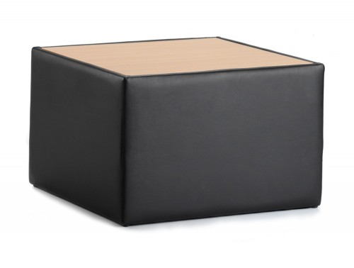 Dynamic oracle square table in black leather with oak top