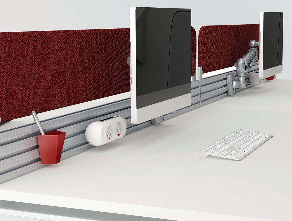 Desk podium screen in red