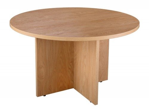 Elite Circular Table Arrowhead Base in Oak