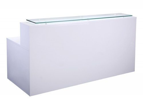 Elite High Gloss Right-Angled Reception Unit with Glass Top and Return in White
