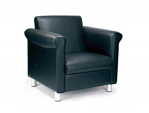 Florence Leather Faced Single Armchair in Black