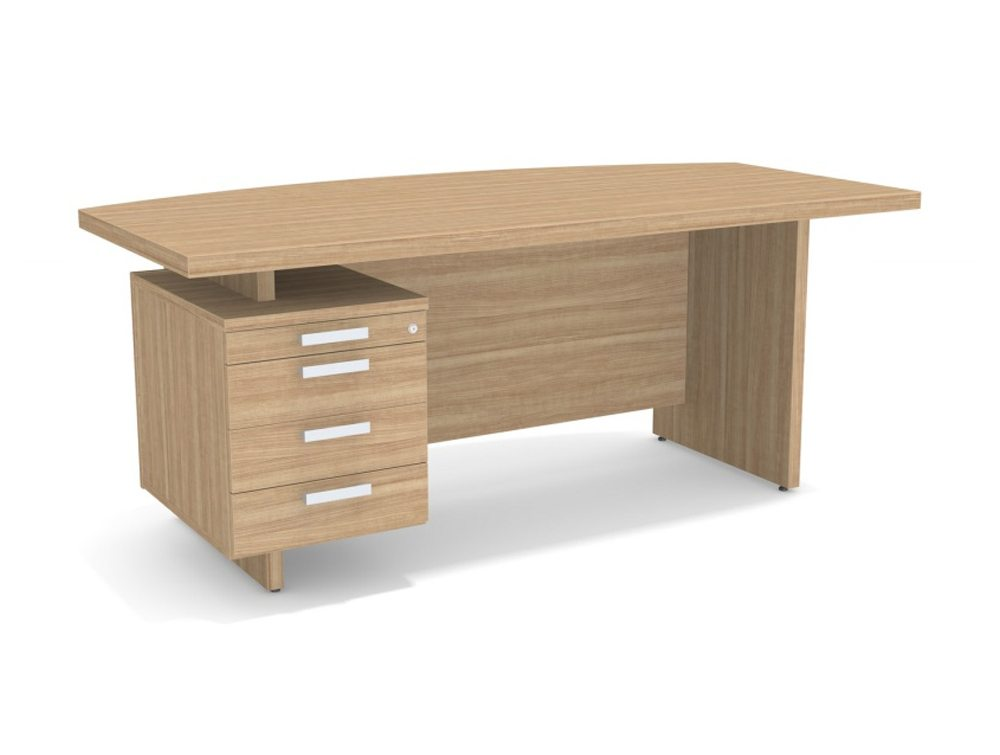 Grand Executive Bow Front Desk With Built In Pedestal