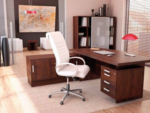 Grand executive desk with credenza unit