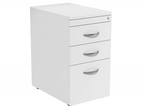 Kito 3 Drawer Desk High Pedestal 6-WH in White 600mm
