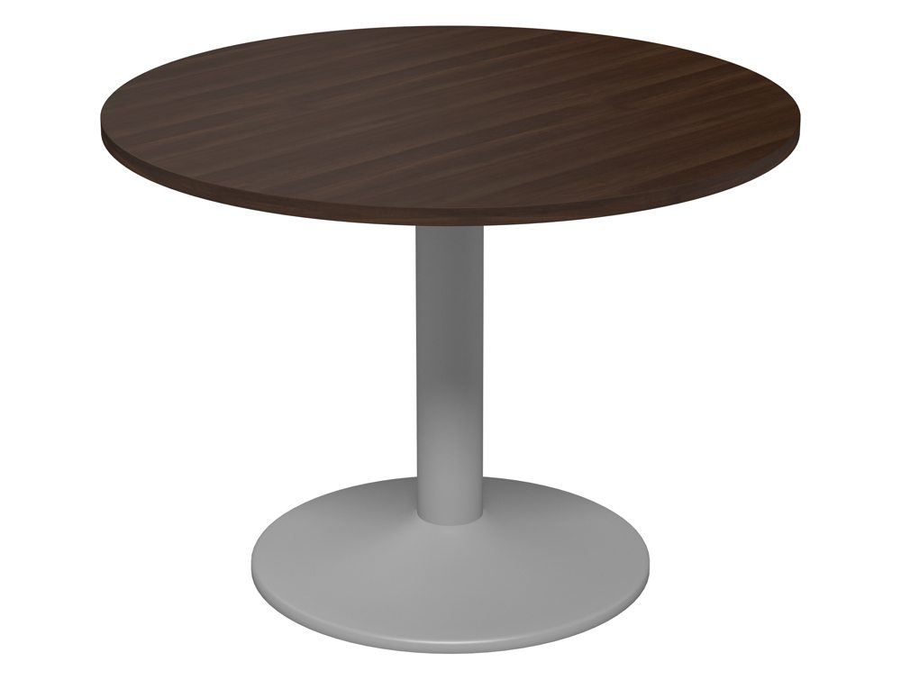 Kito round meeting table with trumpet leg in walnut for 12 rules of the round table
