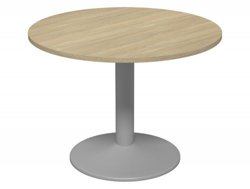 Kito Meeting Round Meeting Table Single Cylinder Leg Base 1000 Uo Slv