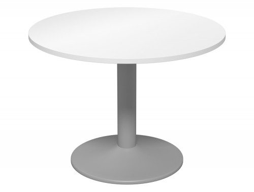 Kito Meeting Round Meeting Table Single Cylinder Leg Base 1000 Wh Slv