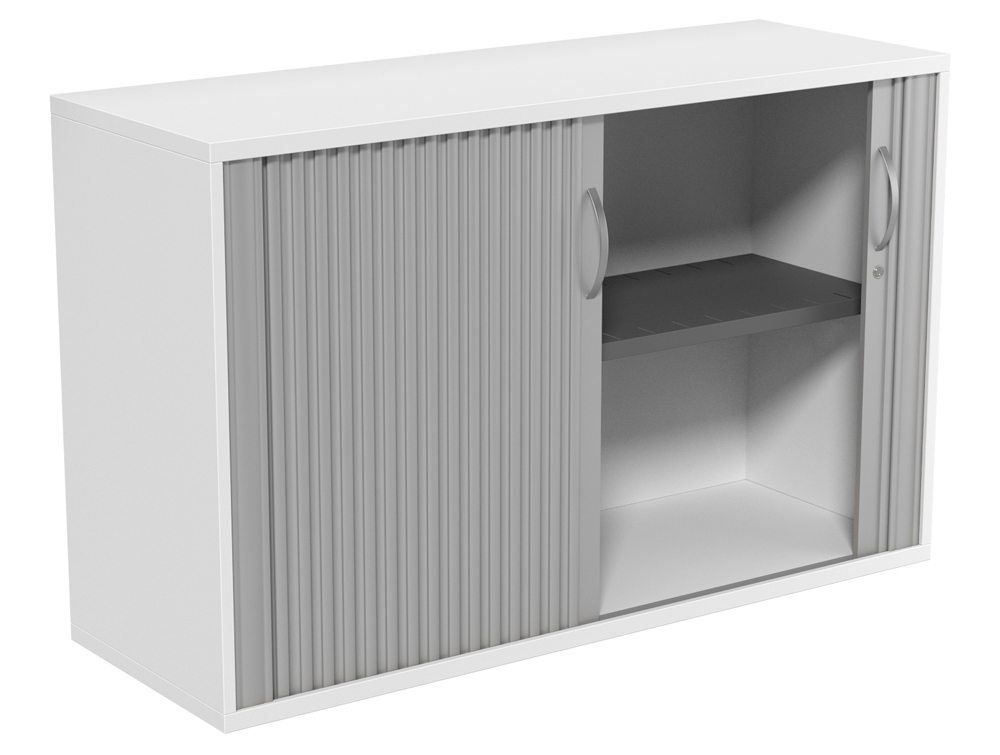 Kito 2 Level Wooden Tambour Unit In White Radius Office Uk