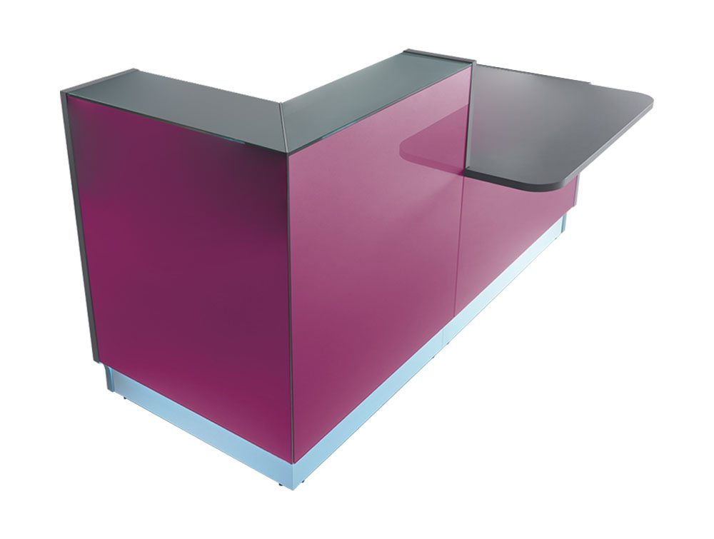Linea glass reception counter in violet side angle