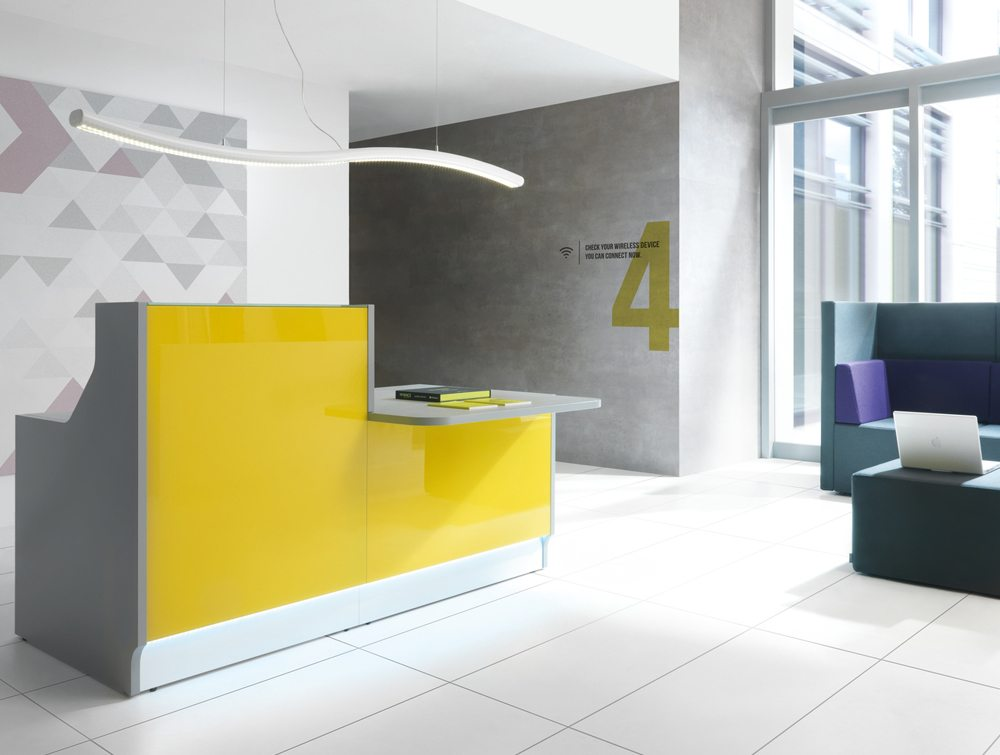 Linea glass reception counter in yellow