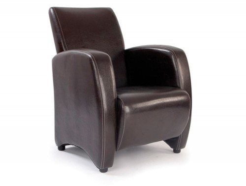 Metro High Back Lounge Chair in Brown Leather