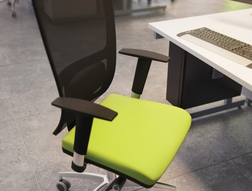OZ Series Mesh Back Swivel Chair with Adjustable Arms Green