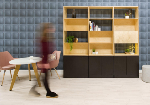 Palisade-Wooden-Grid-Office-Space-Divider-with-Low-Storage-with-Round-Table-and-Lounge-Chair