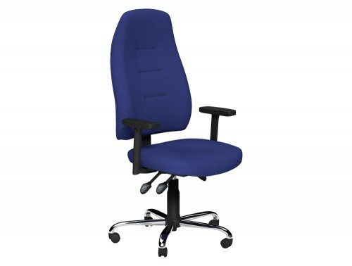 Positura 3 Lever Chair  Chrome Base Adjustable Step Arms with Sliding Tops in E031 Navy