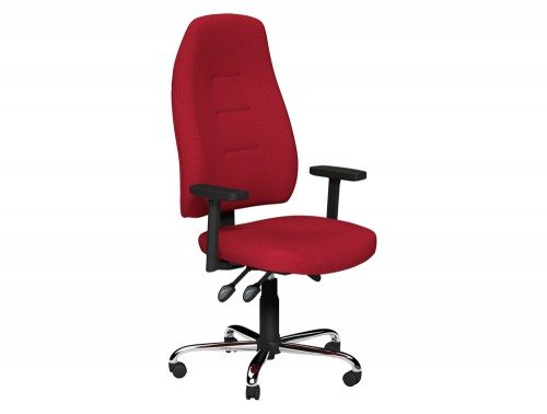 Positura 3 Lever Chair  Chrome Base Adjustable Step Arms with Sliding Tops in E090 Red