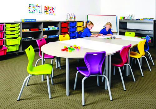 Primary School Classroom Chairs with Modular Table and Rack Storage