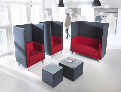 Profim vancouver red sofas with black screens office view